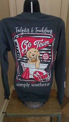 Simply Southern Long Sleeve T-Shirt: Tailgates & Touchdowns - Dark Gray