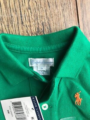 infant green ralph lauren polo 0-3 months new with tags