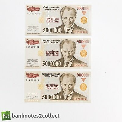 TURKEY: 3 x 5,000,000 Turkish Lira Banknotes with consecutive serial numbers.