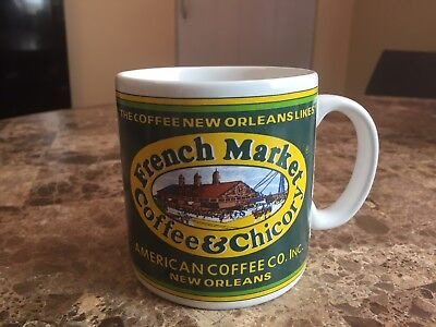 French Market Coffee & Chicory Mug American Coffee Co New Orleans 1990s Label