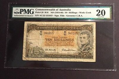 PMG Graded Commonwealth Of Australia 10 Shillings Banknote Nd(1942) Pic29 VF