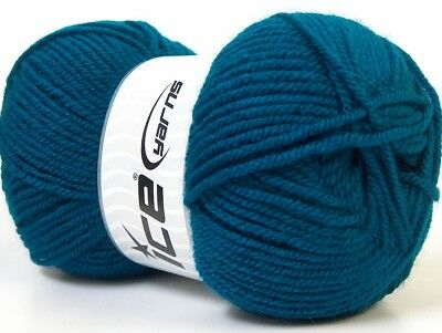 4 Pelotes De Laine Ice Worsted Favorite Teal