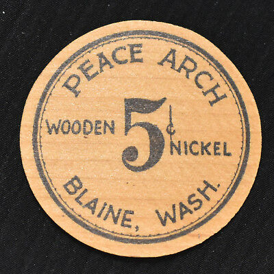 1933 BLAINE, WA, 5 CENTS WOODEN DEPRESSION SCRIP, WA53-.05a2
