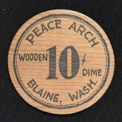 1933 BLAINE, WA, 10 CENTS WOODEN DEPRESSION SCRIP, WA53-.10a