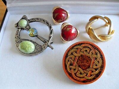 CELTIC JEWELLERY JOB LOT brooch penannular glass connemara agate earrings knot
