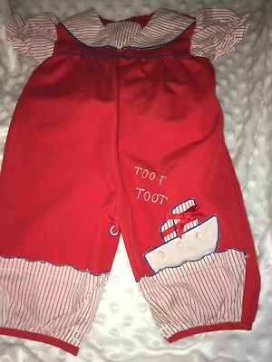 Vintage Adorable Baby Girl Red/white/blue Sailor Suit One Pc. Outfit 3-6 Months.