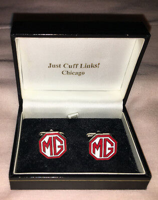 pair gold-toned vintage MG (automobile) cufflinks, .625 inch enamel