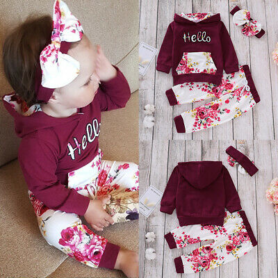UK Baby Girl Plain Long Sleeve Hoodie Tops Pants Infant Outfits Casual Tracksuit