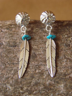 Loui Native American Indian Jewelry Sterling Silver Turquoise Feather Earrings