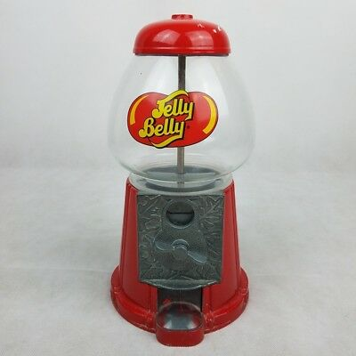 Vintage Jelly Belly Bean Dispenser Metal Glass Coin Operated Gumball Machine