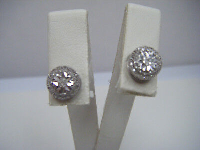 STERLING SILVER DIAMOND Stud Earrings  10 Carats TW Cluster