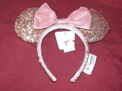 e52b2929184 NEW AUTHENTIC Disney Parks Rose Gold Minnie Mouse Bow Sequins Ear Headband