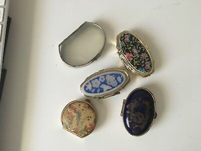 collection of 5 vintage pill / trinket boxes