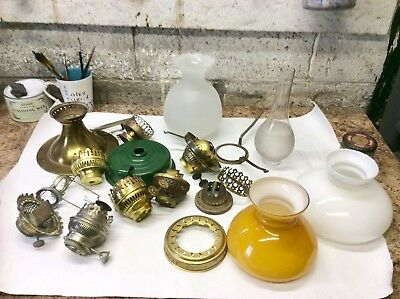 A Mix Of Vintage Oil Paraffin Lamp Parts maybe usefull to someone for spares