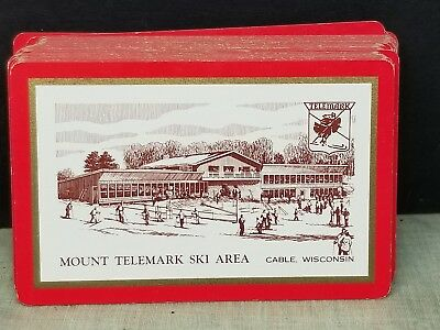 Neat Vintage Graphic Deck Playing Cards Mount Telemark Ski Area Cable WI Wis