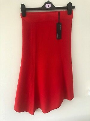 Womens Red Merino Wool Evening Skirt - Marks & Spencer Autograph - size 8 - NEW