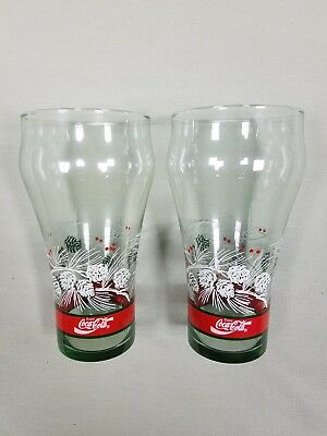 COCA COLA Christmas Holiday Pine Cone Design Set of 2 Drinking Glasses