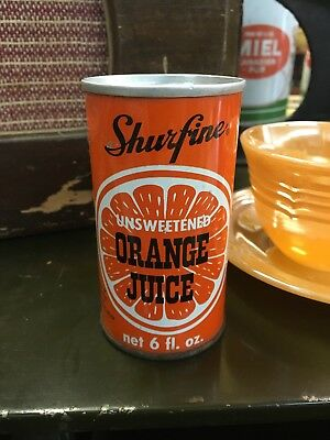vintage SHURFINE Orange Juice 6oz advertising soda pop can
