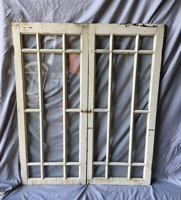 Pair Antique 11 Pane Casement Door Windows Cabinet Shabby 19x47 Vtg Old  109-18C