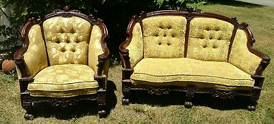 Vintage Antique Original Victorian Rococo Shabby Chic Loveseat and Chair