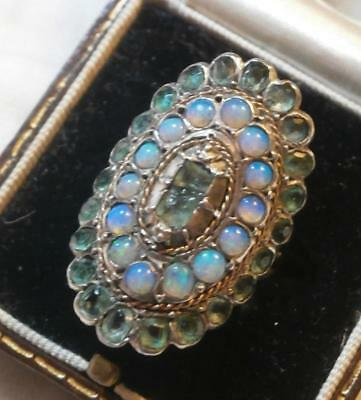 BEAUTIFUL ANTIQUE 1800's GOLD SILVER OPAL & PALE GREEN GEMSTONE RING