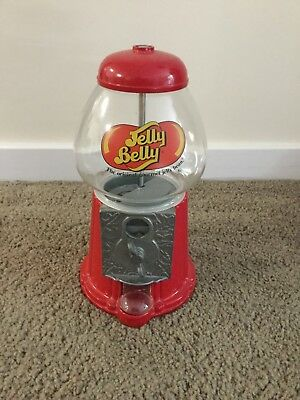 JELLY BELLY Jelly Bean Candy Dispenser Coin Operated Bank Glass & Metal