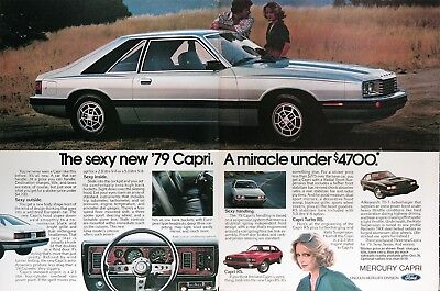 1979 MERCURY CAPRI Genuine Vintage Ad ~ MSRP Under $4,700