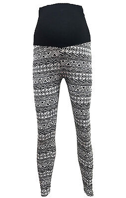 Women Full Length Jersey Maternity Leggings BLACK/WHITE Aztec Print