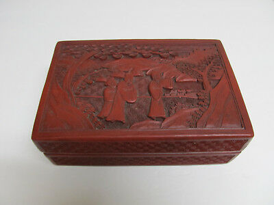 Fine Antique Chinese Carved Figure & Landscape Red Lacquer Cinnabar Box 7''