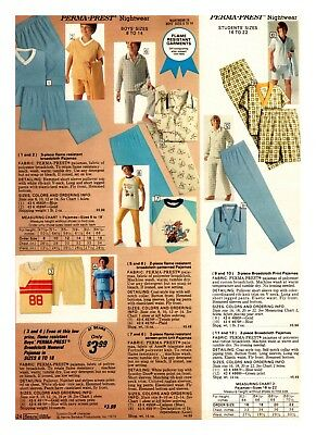 1970's Youth Sleep Wear Retro Fashion Print Ads Clippings VINTAGE