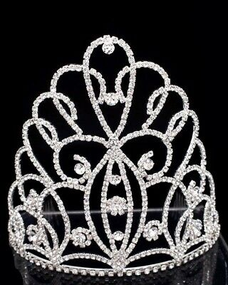 """6.5"""" Tall Large Full Crystal Rhinestone Wedding Pageant Tiara Crown with Combs"""