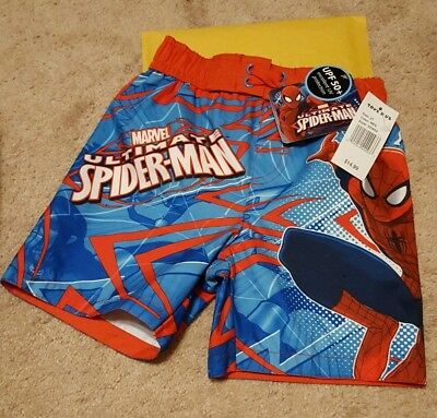 Spiderman Boys Toddler 2T Swim Shorts Trunks Bathing Suit - New w/Tags