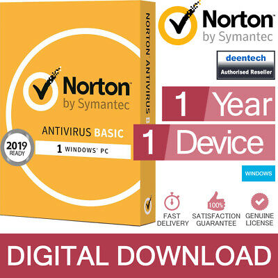 Norton Antivirus Basic 2019 (1 PC) Security Genuine Authentic License Windows