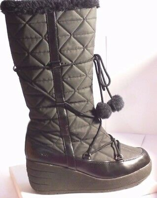 London Fog™ Black Quilted Wedge Heel Knee High Boots with Pom Pom Waterproof 7