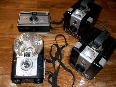 Lot of 4 Vintage Kodak Cameras for Props, Displays or Art Projects
