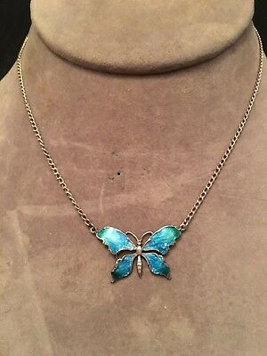 Beautiful Vintage Art Nouveau Antique Style Butterfly Enamel Sterling Necklace