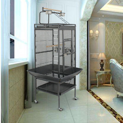 """61""""Large Bird Cage Top Play Non-Toxic Stainless Steel Macaw Cockatoo Pet House"""