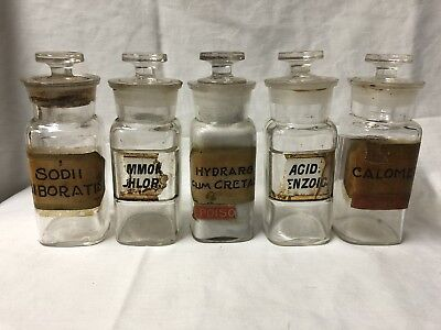 Antique 1889 Whitehall & Tatum Apothecary Druggist Jars Glass Labels cut Toppers