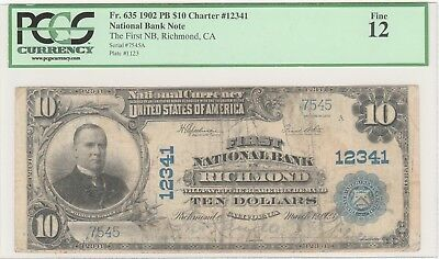 CA 1902 $ 10 Richmond California ch# 12341  (only 5 $10 PB known)