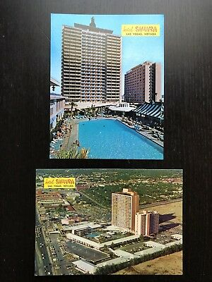 Vintage 1970s Nevada NV Sahara Hotel Las Vegas 2 TWO OVERSIZED Postcards NR