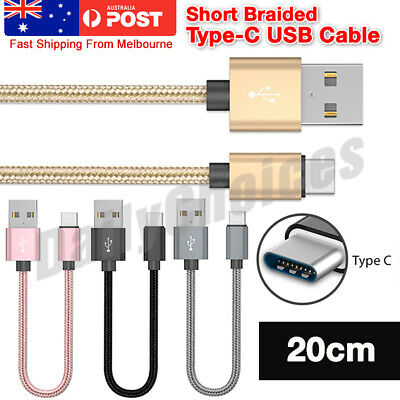 AU Short 20CM USB-C Type-C 3.1 Fast Charging Data Sync Cable Charger Cord Lot