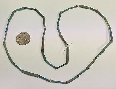 RESTRUNG 2500 Year old Ancient Egyptian Faience Mummy Bead Necklace (#G5705)