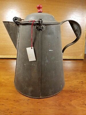 Vintage Antique Large Tin Chuck Wagon Cowboy Coffee Pot w Copper Bottom and Bail