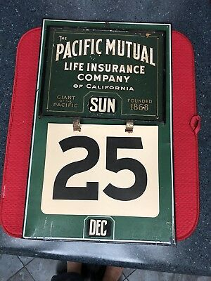 ANTIQUE Perpetual Tin CALENDAR SIGN c1920's Pacific Mutual Life Ins Advertising