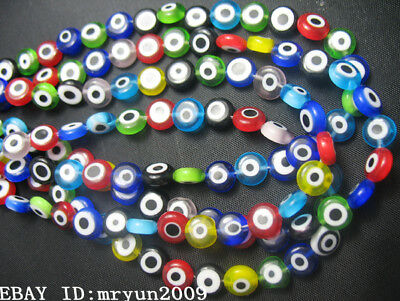 Handmade Millefiori glass BEADS 6mm Eye Evil SPACER FREE 30pcs Rondelle Jewelry