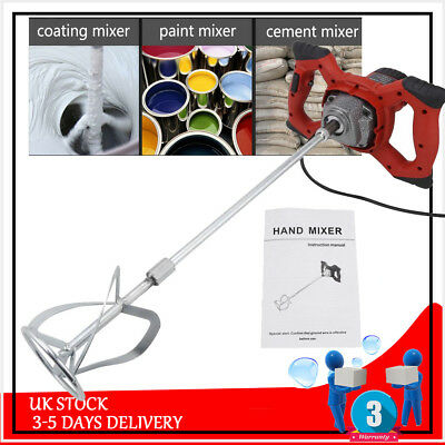 6Speed Paddle Mixer Electric Plaster Mixing Paint Stirrer Plastering Whisk 1500W