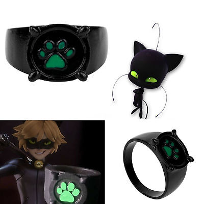 Miraculous Tales of Ladybug & Chat Cat Noir Green Paw Print Ring Anime Cosplay