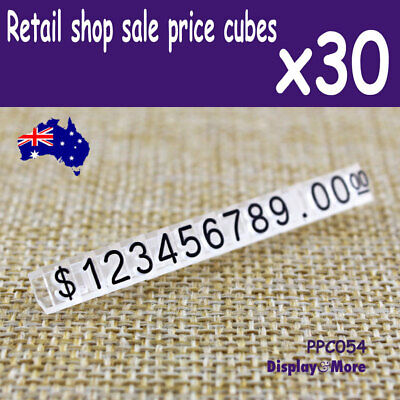 30 Sets Retail Shop PRICE Display Tag Cube | Black Numeral | AUSSIE Seller