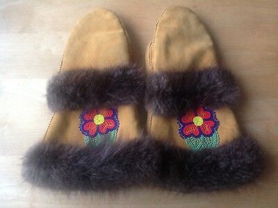 Hand Sewn Native American BEADED SUEDE Gauntlets Mittens WOOL Lined FUR Cuffs