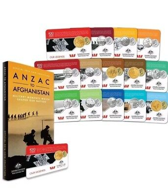2016 ANZAC TO AFGHANISTAN 100 YEARS 14 Coins in Album.Rare set.